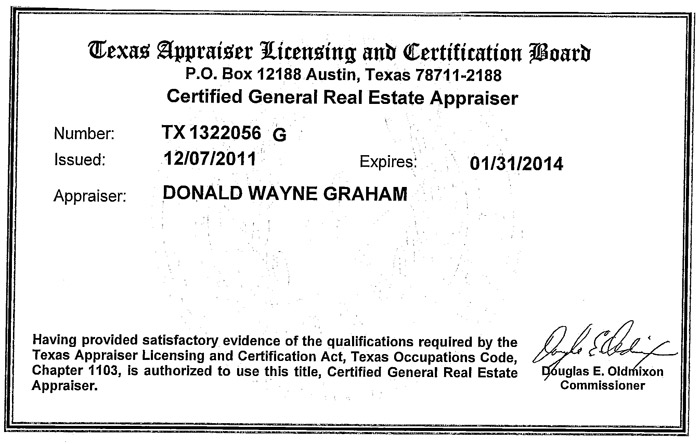 Texas Appraiser Licensing and Certification Board: State Certified General Real Estate Appraiser